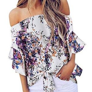 Women's Striped Off Shoulder Casual Blouses Tops